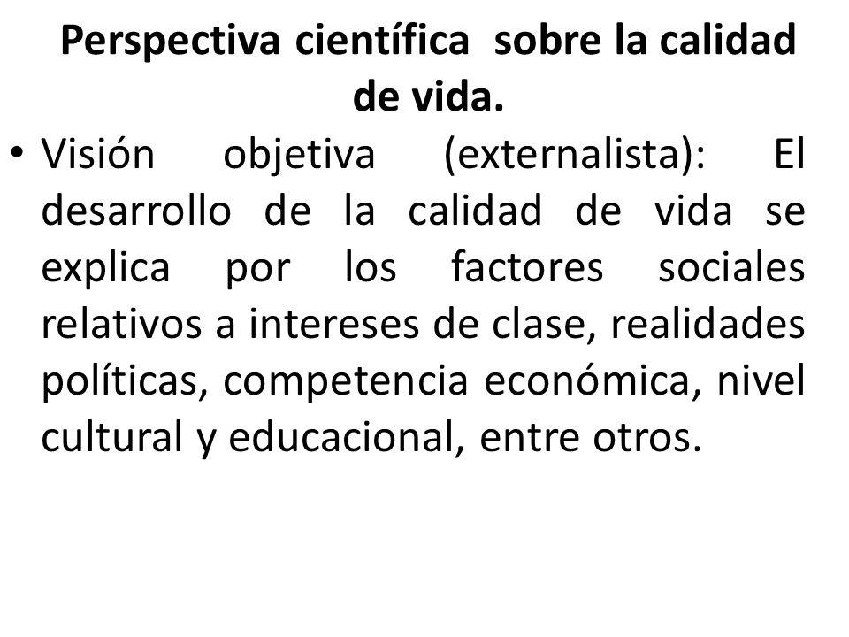 Perspectiva científica sobre la calidad de vida. Visión objetiva (externalista): El desarrollo de la calidad de vida se explica por los factores socia
