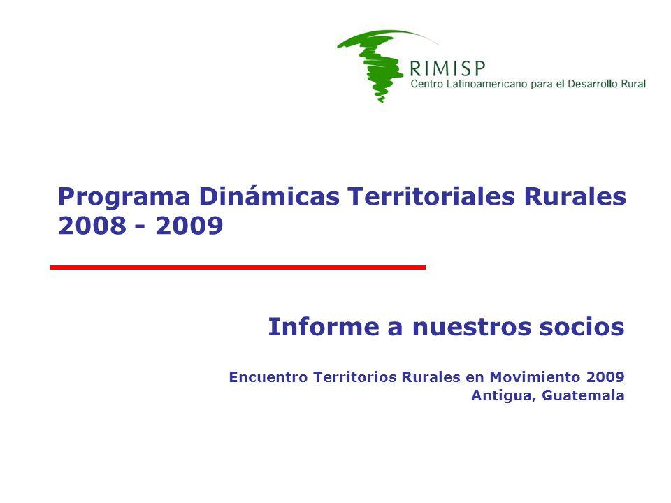 Programa Dinámicas Territoriales Rurales 2008 - 2009 Informe a nuestros socios Encuentro Territorios Rurales en Movimiento 2009 Antigua, Guatemala