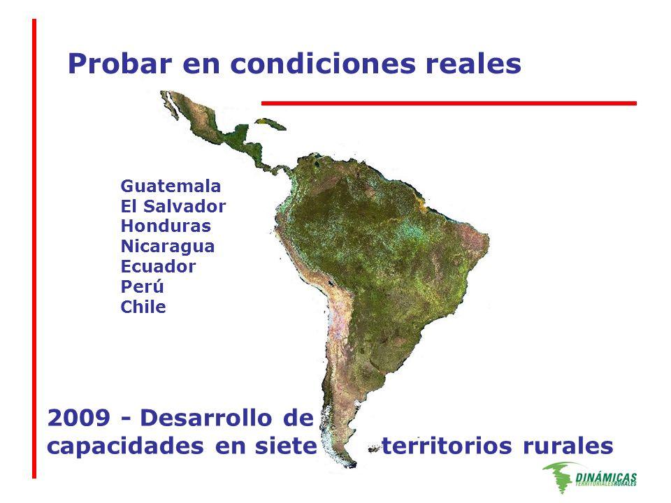 Probar en condiciones reales 2009 - Desarrollo de capacidades en siete territorios rurales Guatemala El Salvador Honduras Nicaragua Ecuador Perú Chile