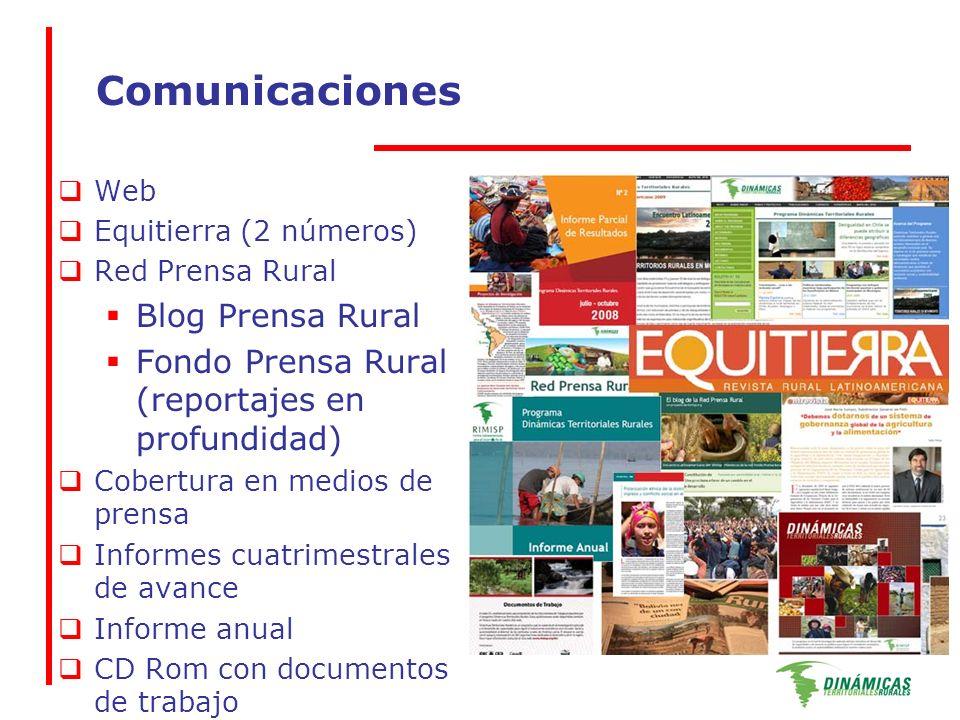 Comunicaciones Web Equitierra (2 números) Red Prensa Rural Blog Prensa Rural Fondo Prensa Rural (reportajes en profundidad) Cobertura en medios de prensa Informes cuatrimestrales de avance Informe anual CD Rom con documentos de trabajo