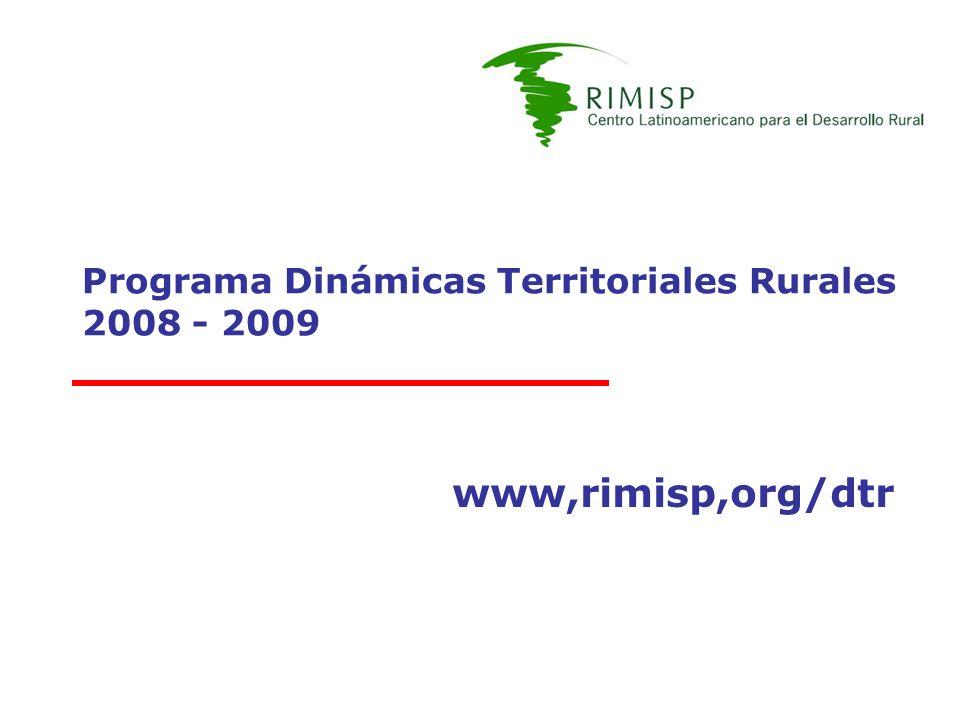 Programa Dinámicas Territoriales Rurales 2008 - 2009 www,rimisp,org/dtr