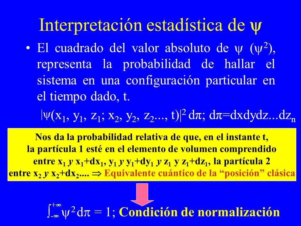 Interpretación estadística de El cuadrado del valor absoluto de ( 2 ), representa la probabilidad de hallar el sistema en una configuración particular