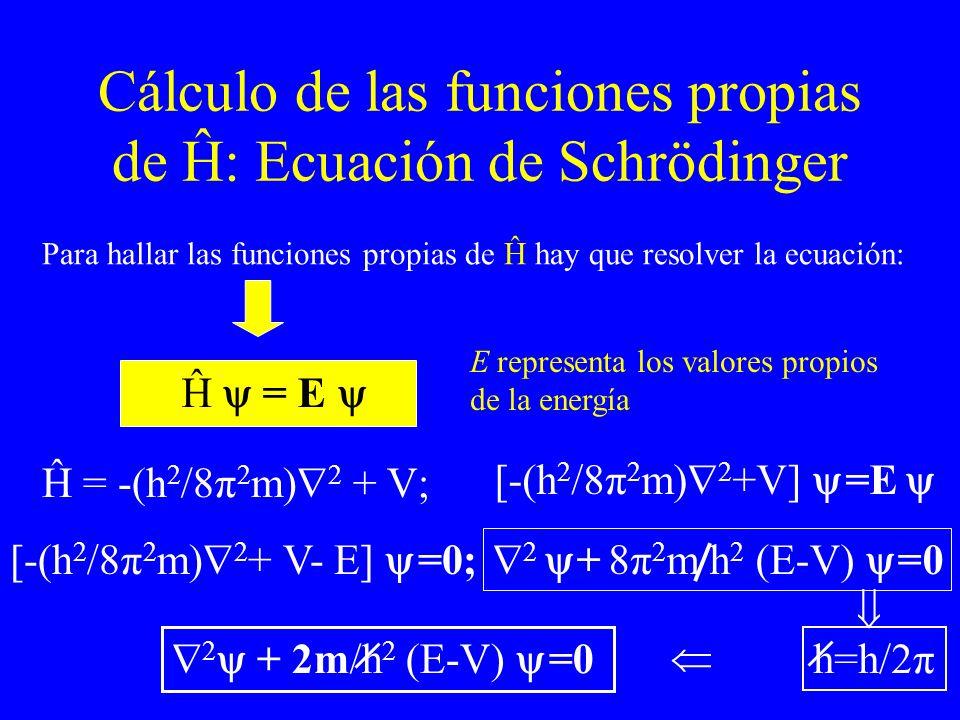 Cálculo de las funciones propias de Ĥ: Ecuación de Schrödinger E representa los valores propios de la energía Para hallar las funciones propias de Ĥ h