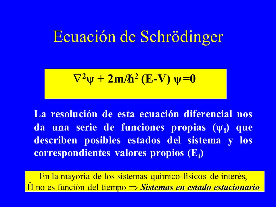 Ecuación de Schrödinger La resolución de esta ecuación diferencial nos da una serie de funciones propias ( i ) que describen posibles estados del sist
