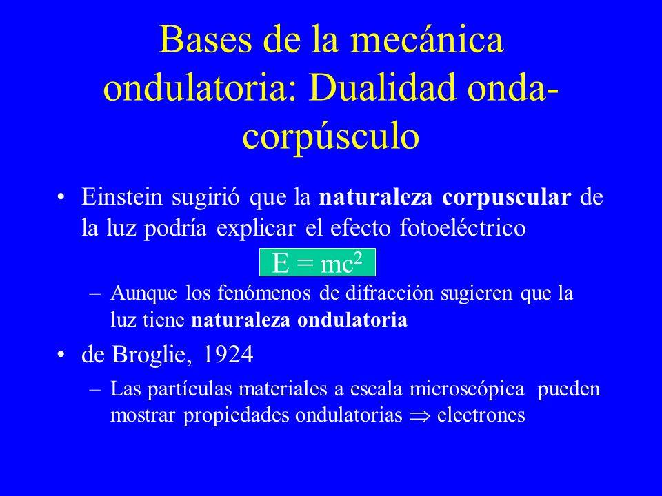 Bases de la mecánica ondulatoria: Dualidad onda- corpúsculo Einstein sugirió que la naturaleza corpuscular de la luz podría explicar el efecto fotoelé