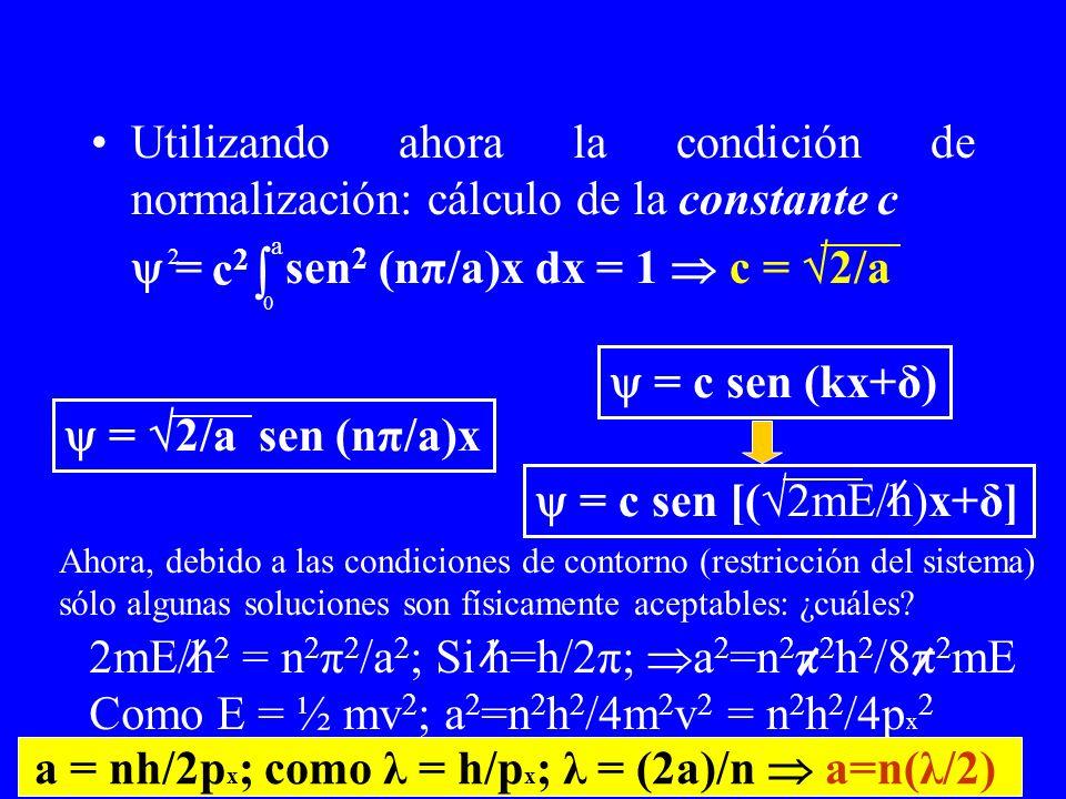 Utilizando ahora la condición de normalización: cálculo de la constante c = sen 2 (nπ/a)x dx = 1 c = 2/a 0 a c2c2 = 2/a sen (nπ/a)x = c sen (kx+δ) Aho