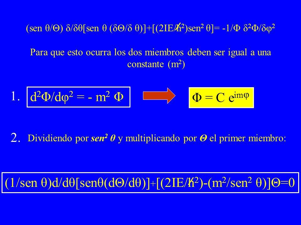 (sen θ/Θ) δ/δθ[sen θ (δΘ/δ θ)]+[(2IE/h 2 )sen 2 θ]= -1/Φ δ 2 Φ/δφ 2 Para que esto ocurra los dos miembros deben ser igual a una constante (m 2 ) d 2 Φ