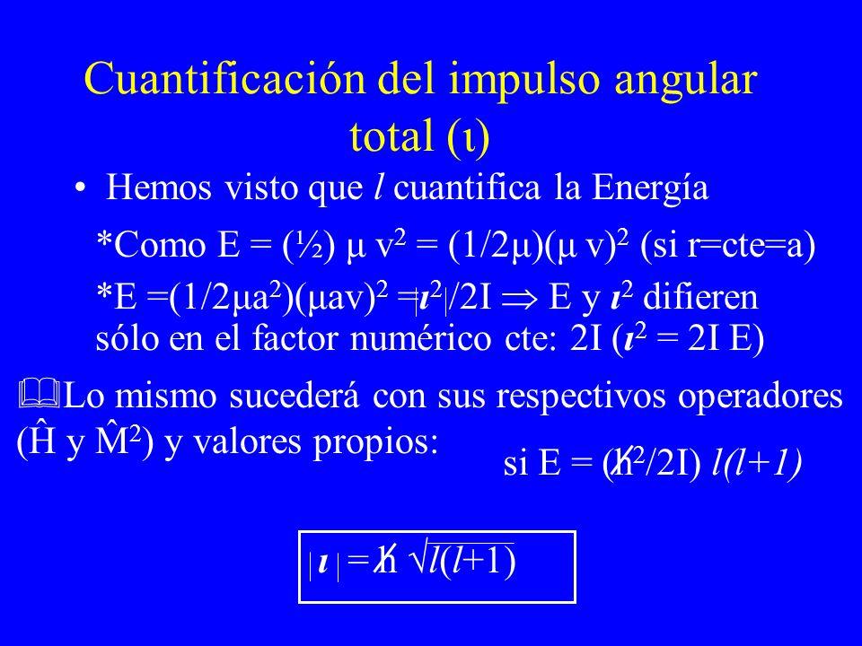 Cuantificación del impulso angular total (ι) Hemos visto que l cuantifica la Energía ˆ ˆ si E = (h 2 /2I) l(l+1) ι = h l(l+1) *Como E = (½) μ v 2 = (1
