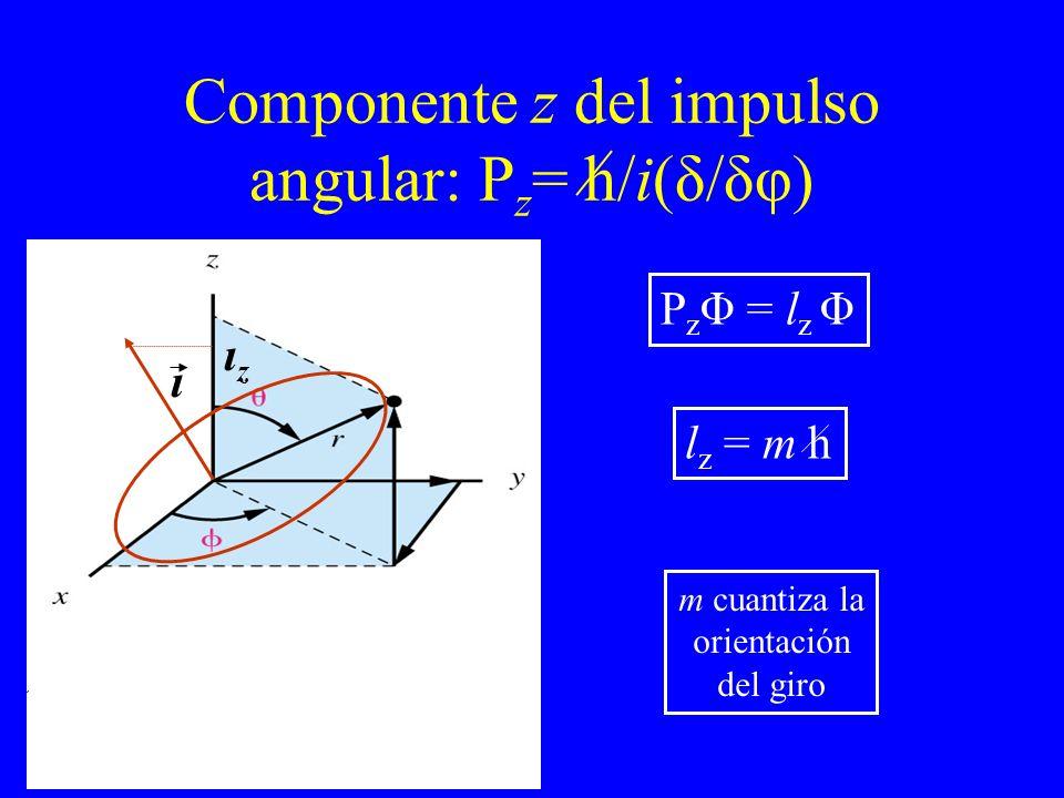 Componente z del impulso angular: P z = h/i(δ/δφ) ι ιzιz P z Φ = l z Φ l z = m h m cuantiza la orientación del giro