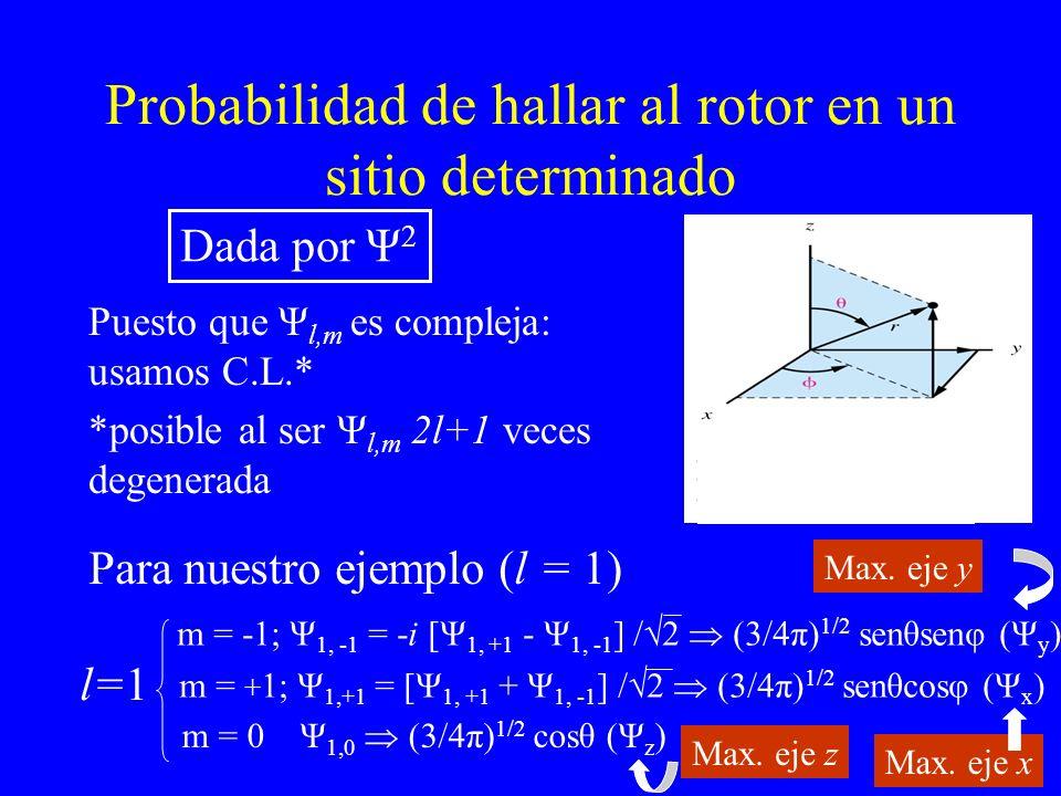 Probabilidad de hallar al rotor en un sitio determinado Puesto que Ψ l,m es compleja: usamos C.L.* *posible al ser Ψ l,m 2l+1 veces degenerada Dada po
