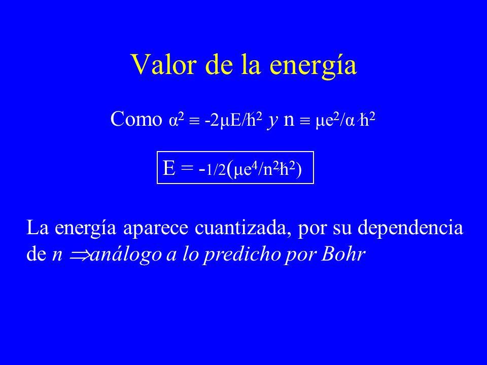 Valor de la energía Como α 2 -2μE/h 2 y n μe 2 /α h 2 E = - 1/2 ( μe 4 /n 2 h 2 ) La energía aparece cuantizada, por su dependencia de n análogo a lo