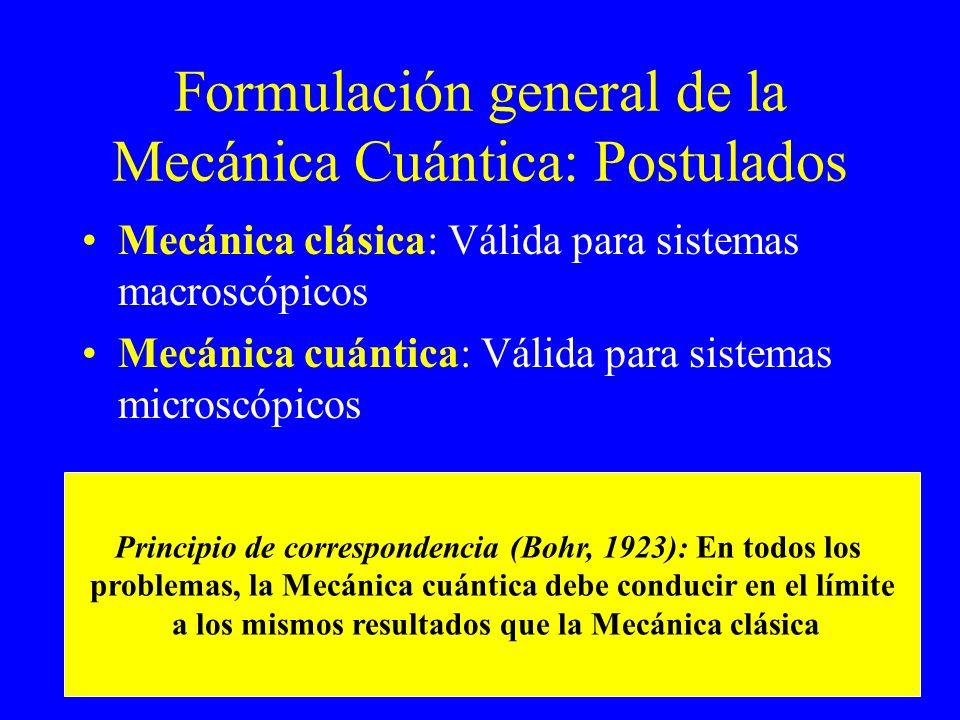 Formulación general de la Mecánica Cuántica: Postulados Mecánica clásica: Válida para sistemas macroscópicos Mecánica cuántica: Válida para sistemas m