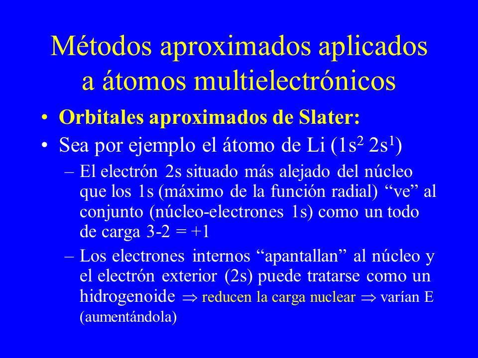 Métodos aproximados aplicados a átomos multielectrónicos Orbitales aproximados de Slater: Sea por ejemplo el átomo de Li (1s 2 2s 1 ) –El electrón 2s