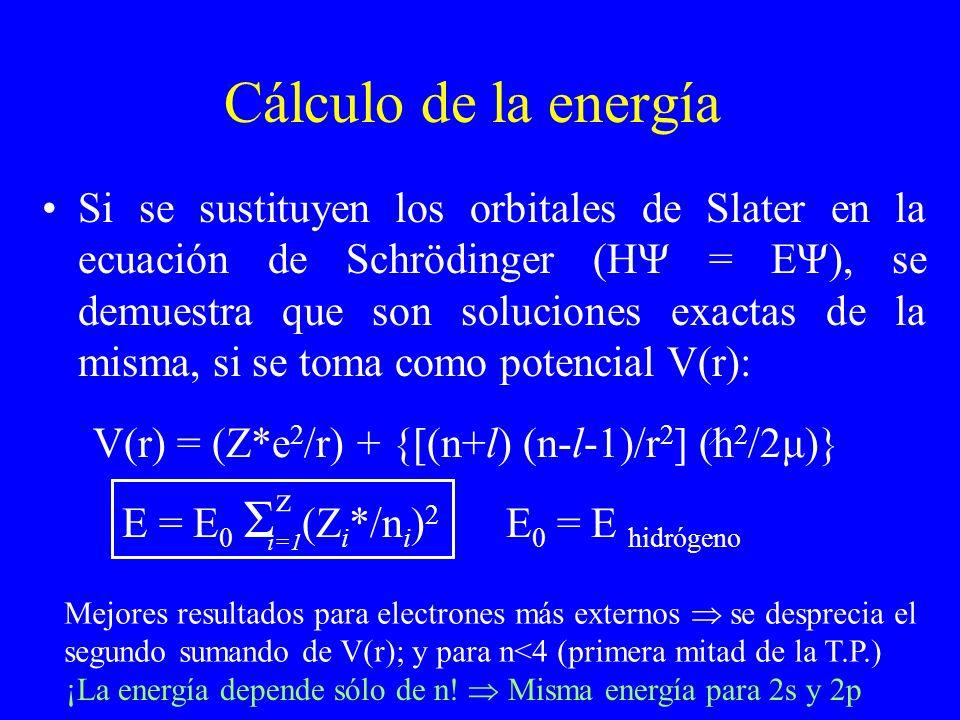 Cálculo de la energía Si se sustituyen los orbitales de Slater en la ecuación de Schrödinger (HΨ = EΨ), se demuestra que son soluciones exactas de la