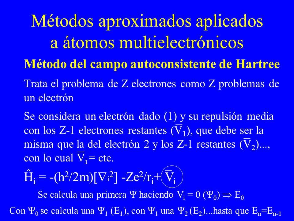 Métodos aproximados aplicados a átomos multielectrónicos Método del campo autoconsistente de Hartree Trata el problema de Z electrones como Z problema