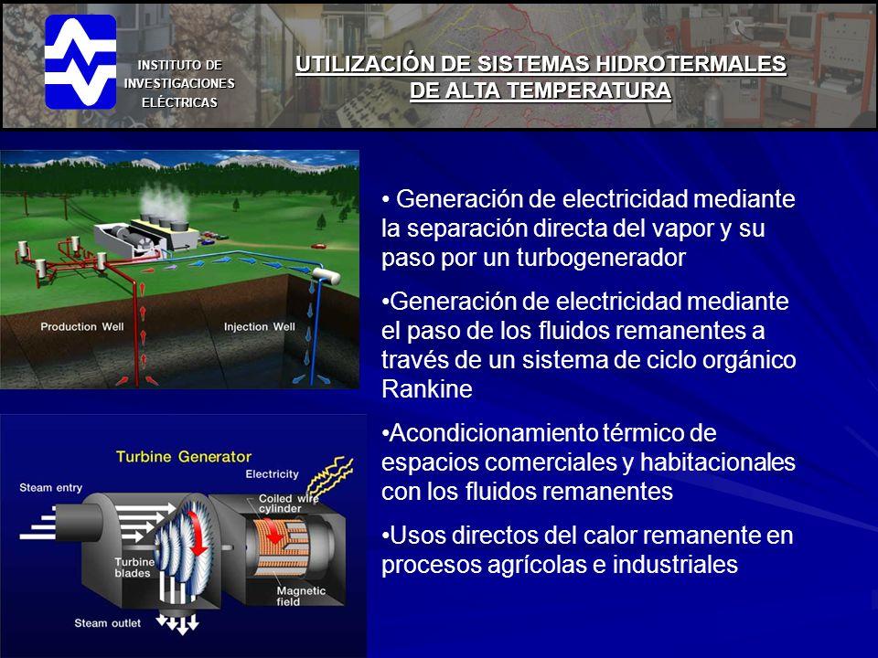 INSTITUTO DE INVESTIGACIONES ELÉCTRICAS UTILIZACIÓN DE SISTEMAS HIDROTERMALES DE ALTA TEMPERATURA Generación de electricidad mediante la separación di