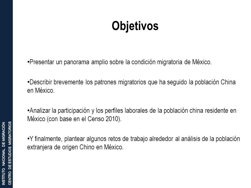 INSTITUTO NACIONAL DE MIGRACIÓN CENTRO DE ESTUDIOS MIGRATORIOS Objetivos Presentar un panorama amplio sobre la condición migratoria de México. Describ