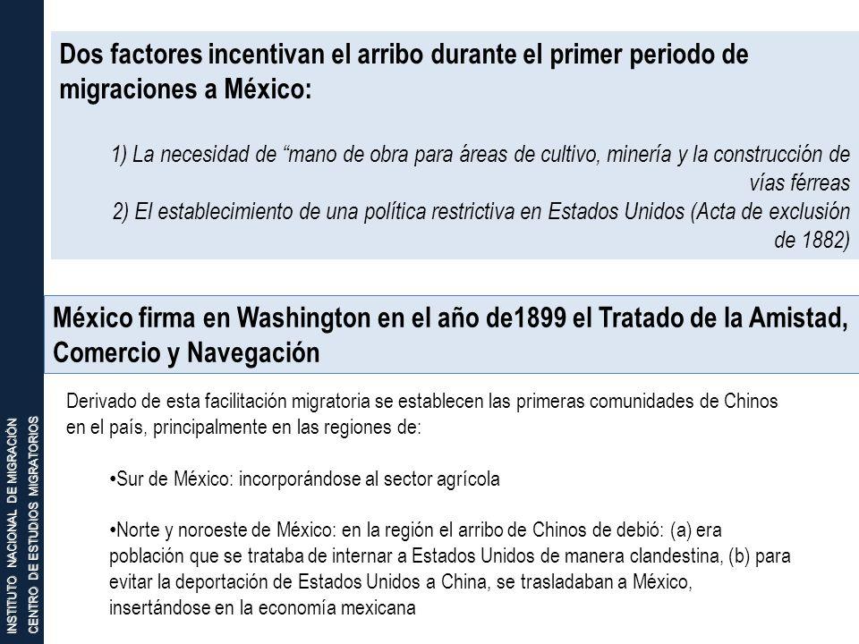 INSTITUTO NACIONAL DE MIGRACIÓN CENTRO DE ESTUDIOS MIGRATORIOS Dos factores incentivan el arribo durante el primer periodo de migraciones a México: 1)