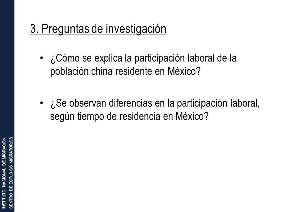 INSTITUTO NACIONAL DE MIGRACIÓN CENTRO DE ESTUDIOS MIGRATORIOS 3. Preguntas de investigación ¿Cómo se explica la participación laboral de la población