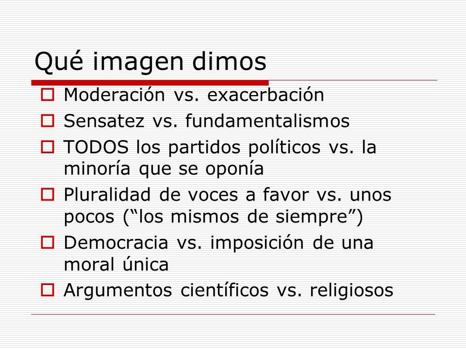 Qué imagen dimos Moderación vs. exacerbación Sensatez vs.