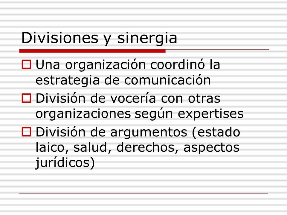 Divisiones y sinergia Una organización coordinó la estrategia de comunicación División de vocería con otras organizaciones según expertises División de argumentos (estado laico, salud, derechos, aspectos jurídicos)