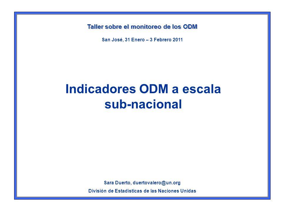 Datos ODM sub-nacionales Datos para indicadores oficiales ODM desagregados –Por sexo –Por edad –Grupo étnico –Zona urbana-rural –Ingresos – Área geográfica –Etc.