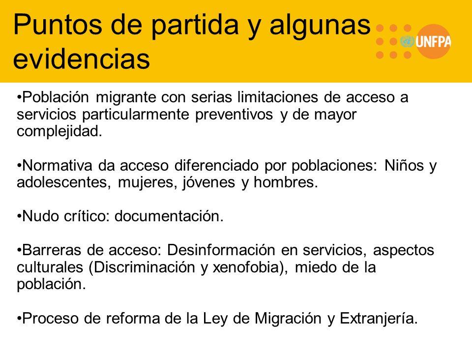 Puntos de partida y algunas evidencias Población migrante con serias limitaciones de acceso a servicios particularmente preventivos y de mayor complej