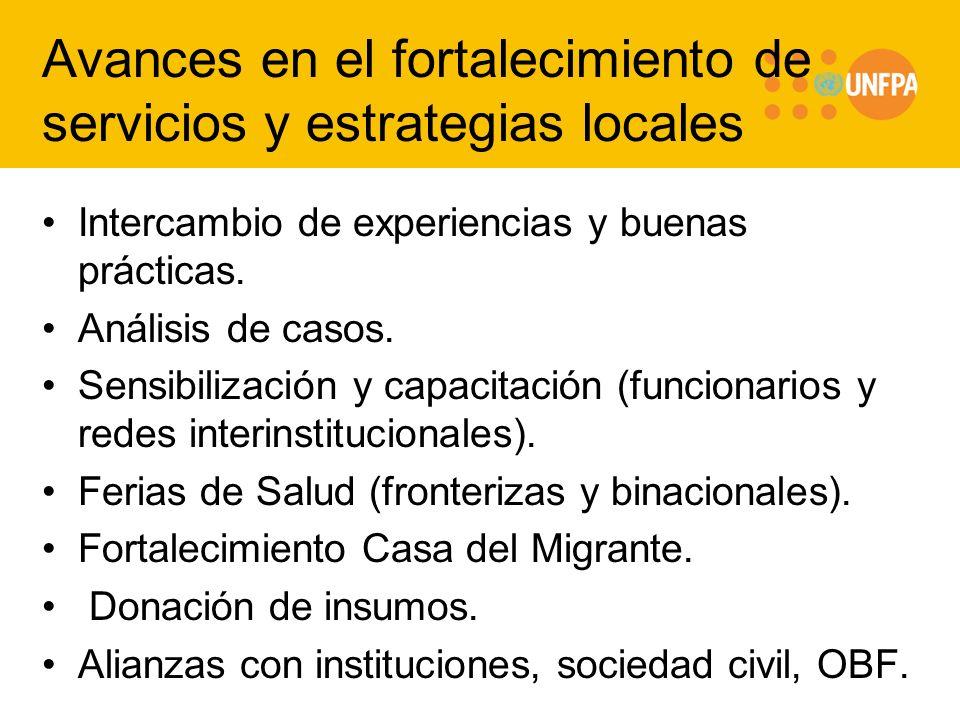 Avances en el fortalecimiento de servicios y estrategias locales Intercambio de experiencias y buenas prácticas. Análisis de casos. Sensibilización y