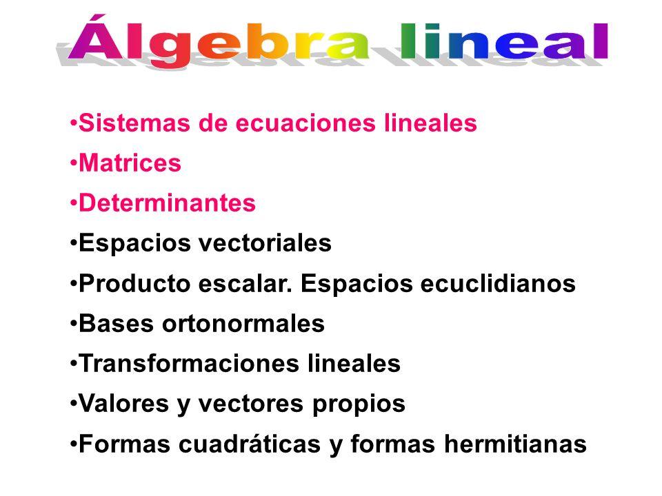 Sistemas de ecuaciones lineales Matrices Determinantes Espacios vectoriales Producto escalar. Espacios ecuclidianos Bases ortonormales Transformacione