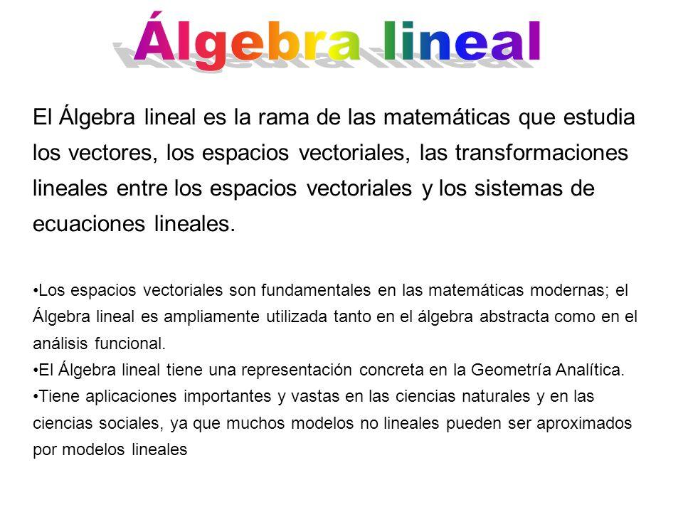 El Álgebra lineal es la rama de las matemáticas que estudia los vectores, los espacios vectoriales, las transformaciones lineales entre los espacios v