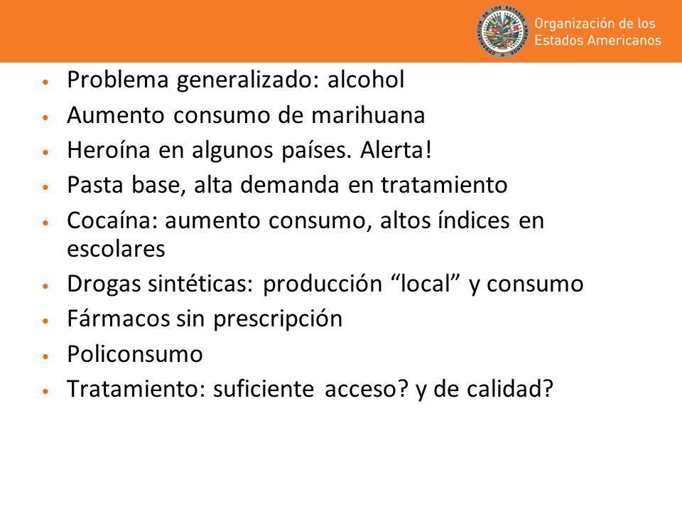 Problema generalizado: alcohol Aumento consumo de marihuana Heroína en algunos países. Alerta! Pasta base, alta demanda en tratamiento Cocaína: aument