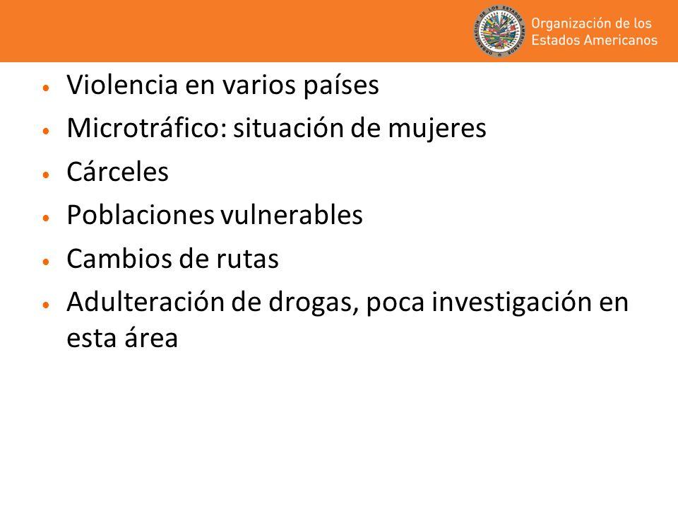 Violencia en varios países Microtráfico: situación de mujeres Cárceles Poblaciones vulnerables Cambios de rutas Adulteración de drogas, poca investiga
