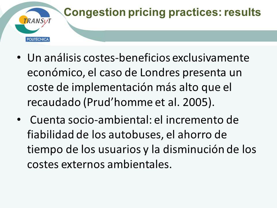 Un análisis costes-beneficios exclusivamente económico, el caso de Londres presenta un coste de implementación más alto que el recaudado (Prudhomme et