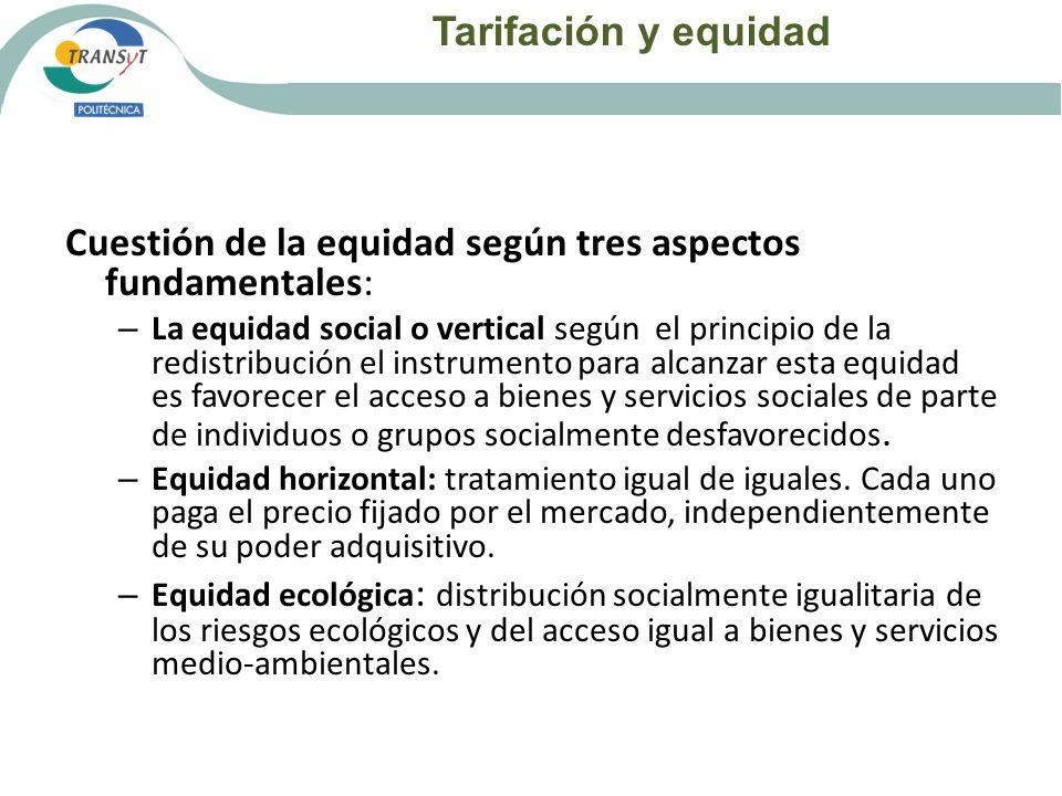 Tarifación y equidad Cuestión de la equidad según tres aspectos fundamentales: – La equidad social o vertical según el principio de la redistribución