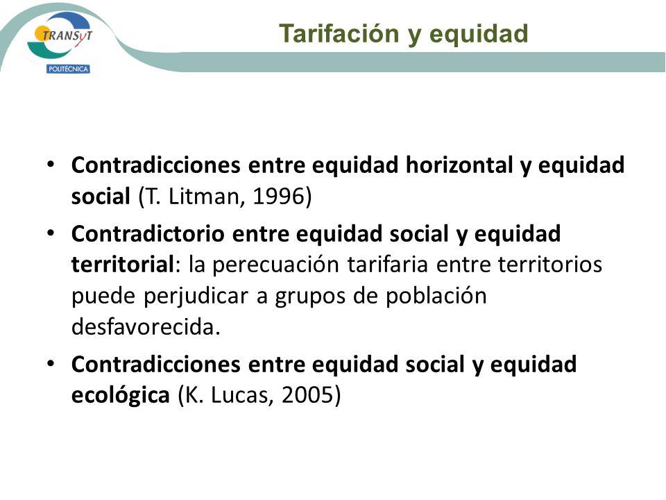 Tarifación y equidad Contradicciones entre equidad horizontal y equidad social (T. Litman, 1996) Contradictorio entre equidad social y equidad territo