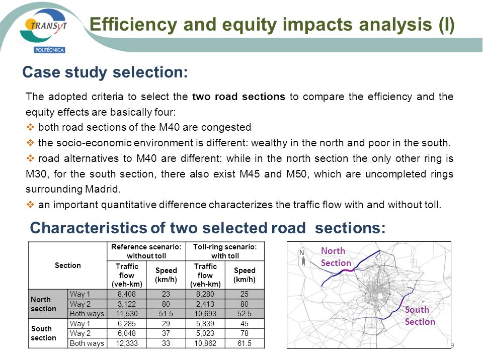 Efficiency and equity impacts analysis (I) 19 Case study selection: The adopted criteria to select the two road sections to compare the efficiency and