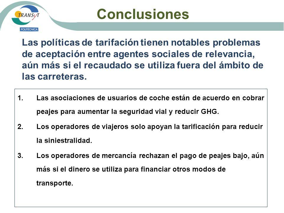 Conclusiones Las políticas de tarifación tienen notables problemas de aceptación entre agentes sociales de relevancia, aún más si el recaudado se util