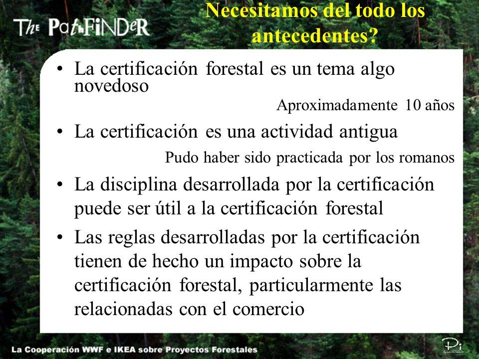 Necesitamos del todo los antecedentes? La certificación forestal es un tema algo novedoso Aproximadamente 10 años La certificación es una actividad an