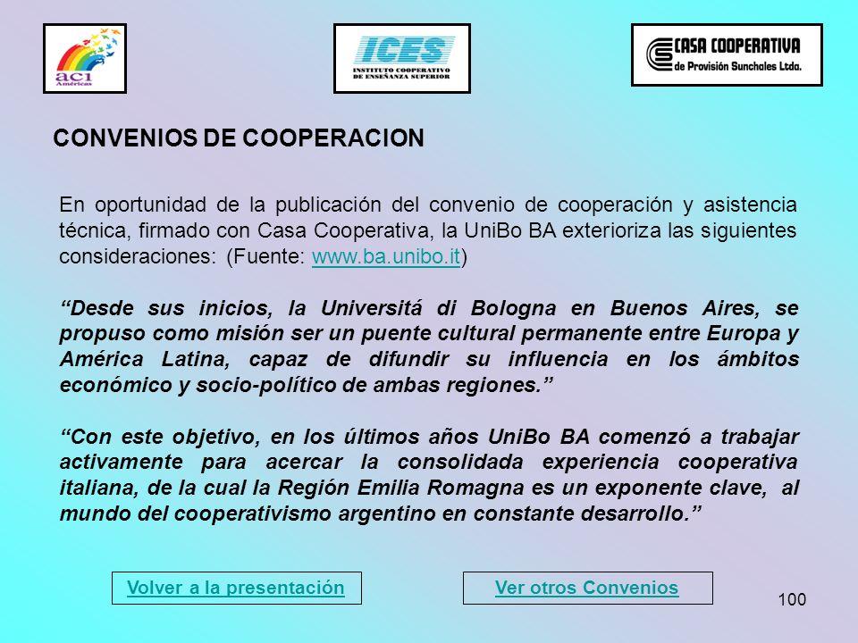 100 En oportunidad de la publicación del convenio de cooperación y asistencia técnica, firmado con Casa Cooperativa, la UniBo BA exterioriza las sigui