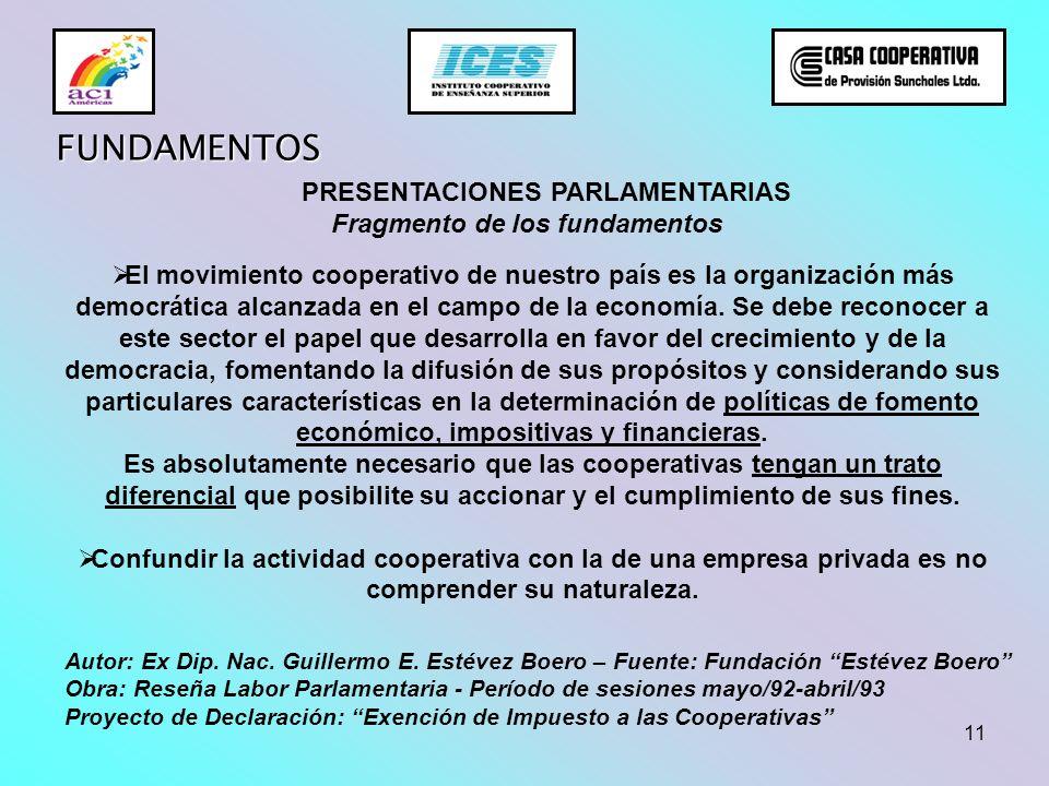 11 FUNDAMENTOS El movimiento cooperativo de nuestro país es la organización más democrática alcanzada en el campo de la economía. Se debe reconocer a