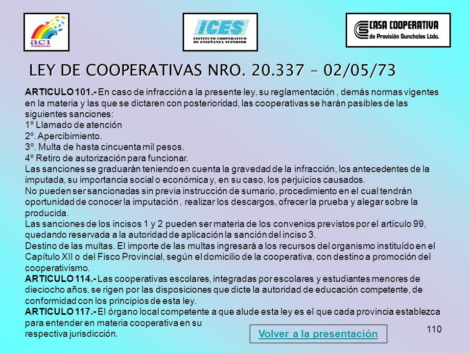 110 LEY DE COOPERATIVAS NRO. 20.337 – 02/05/73 ARTICULO 101.- En caso de infracción a la presente ley, su reglamentación, demás normas vigentes en la