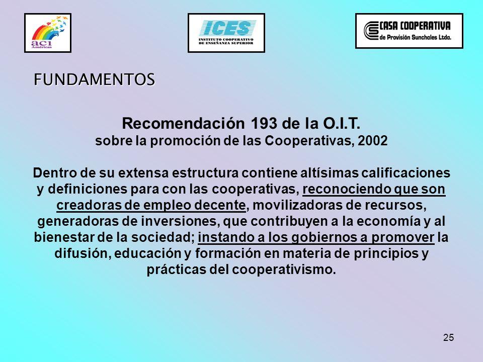 25 Recomendación 193 de la O.I.T. sobre la promoción de las Cooperativas, 2002 Dentro de su extensa estructura contiene altísimas calificaciones y def