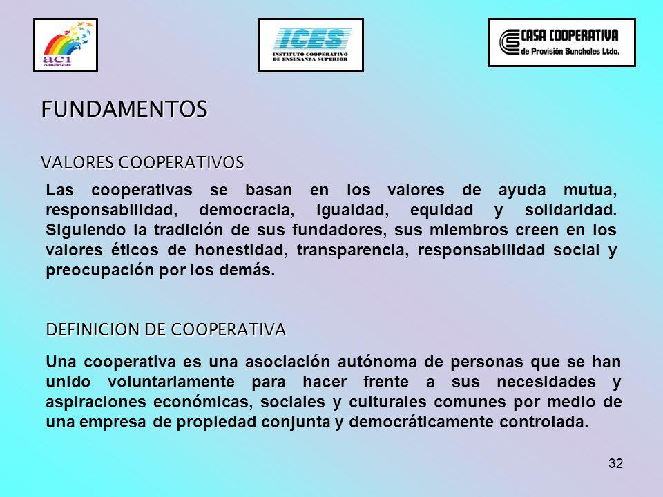 32 VALORES COOPERATIVOS Las cooperativas se basan en los valores de ayuda mutua, responsabilidad, democracia, igualdad, equidad y solidaridad. Siguien