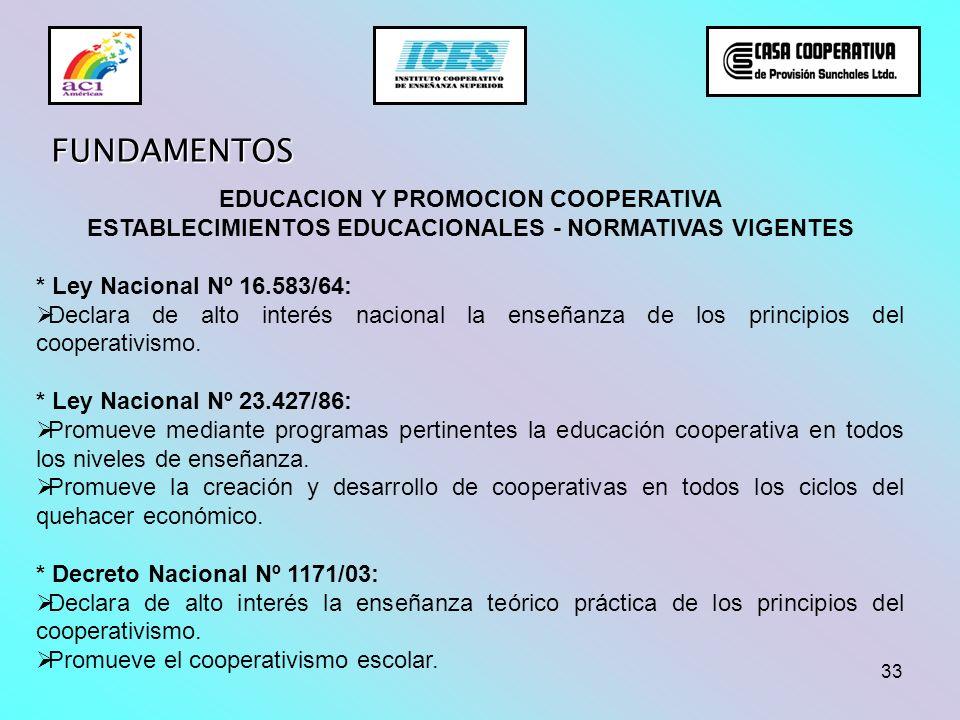 33 FUNDAMENTOS EDUCACION Y PROMOCION COOPERATIVA ESTABLECIMIENTOS EDUCACIONALES - NORMATIVAS VIGENTES * Ley Nacional Nº 16.583/64: Declara de alto int