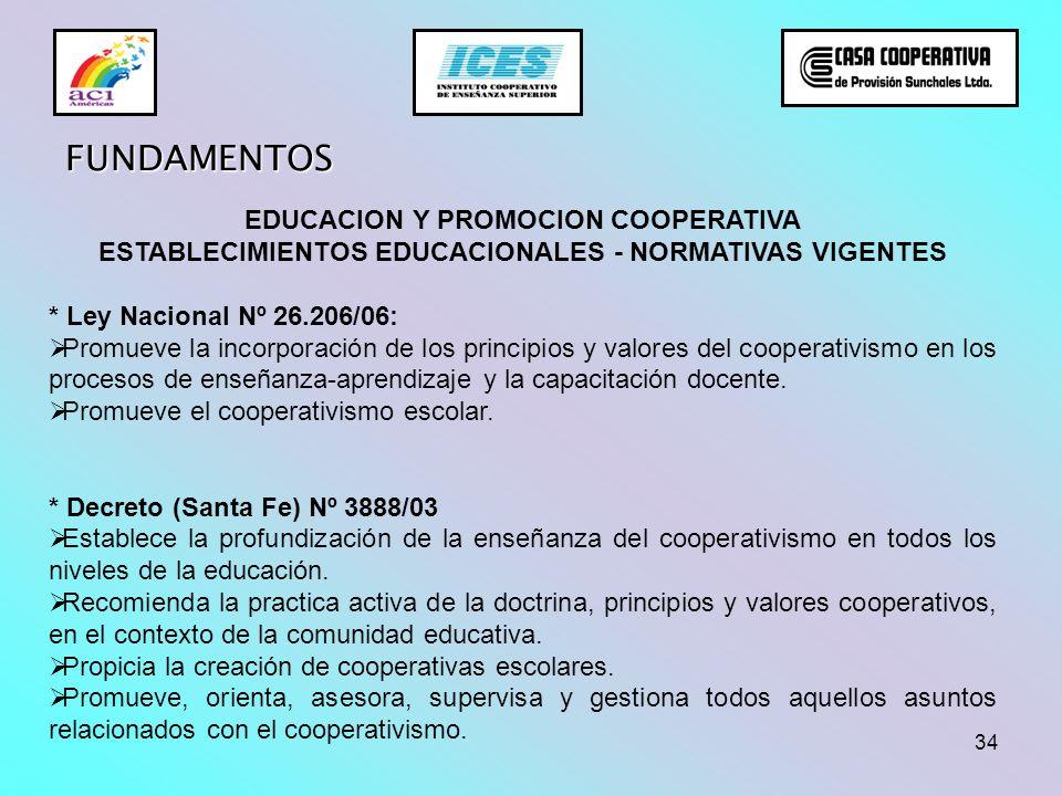 34 FUNDAMENTOS EDUCACION Y PROMOCION COOPERATIVA ESTABLECIMIENTOS EDUCACIONALES - NORMATIVAS VIGENTES * Ley Nacional Nº 26.206/06: Promueve la incorpo