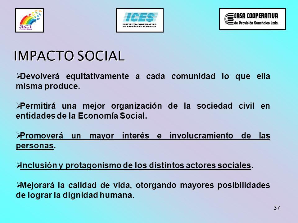 37 IMPACTO SOCIAL Devolverá equitativamente a cada comunidad lo que ella misma produce. Permitirá una mejor organización de la sociedad civil en entid