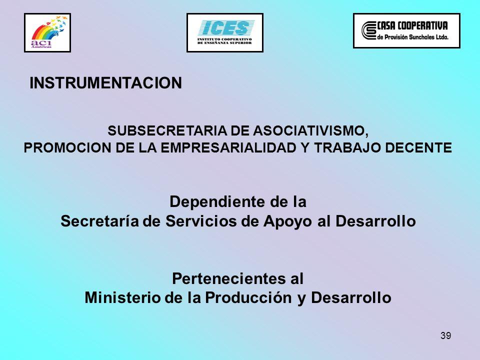 39 SUBSECRETARIA DE ASOCIATIVISMO, PROMOCION DE LA EMPRESARIALIDAD Y TRABAJO DECENTE Dependiente de la Secretaría de Servicios de Apoyo al Desarrollo