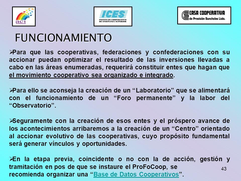 43 FUNCIONAMIENTO Para que las cooperativas, federaciones y confederaciones con su accionar puedan optimizar el resultado de las inversiones llevadas