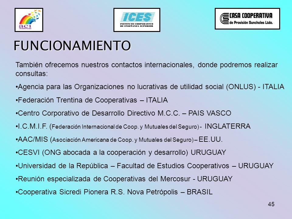 45 FUNCIONAMIENTO También ofrecemos nuestros contactos internacionales, donde podremos realizar consultas: Agencia para las Organizaciones no lucrativ
