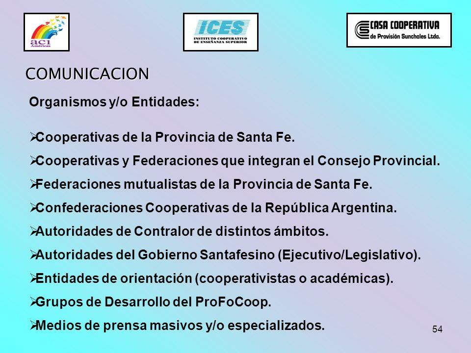 54 COMUNICACION Organismos y/o Entidades: Cooperativas de la Provincia de Santa Fe. Cooperativas y Federaciones que integran el Consejo Provincial. Fe